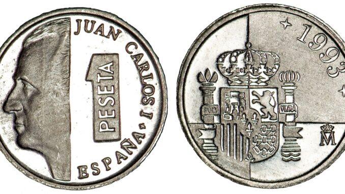 Juan Carlos auf einer Ein-Peseta-Münze